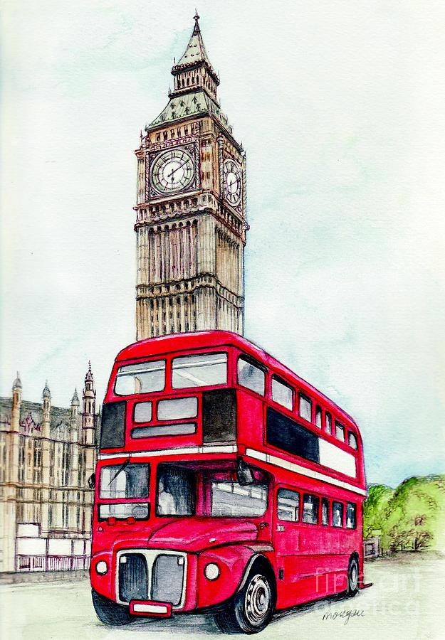 london bus and big ben painting by morgan fitzsimons. Black Bedroom Furniture Sets. Home Design Ideas