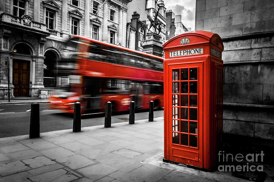 London Bus and Telephone Box in Red by Paul Warburton