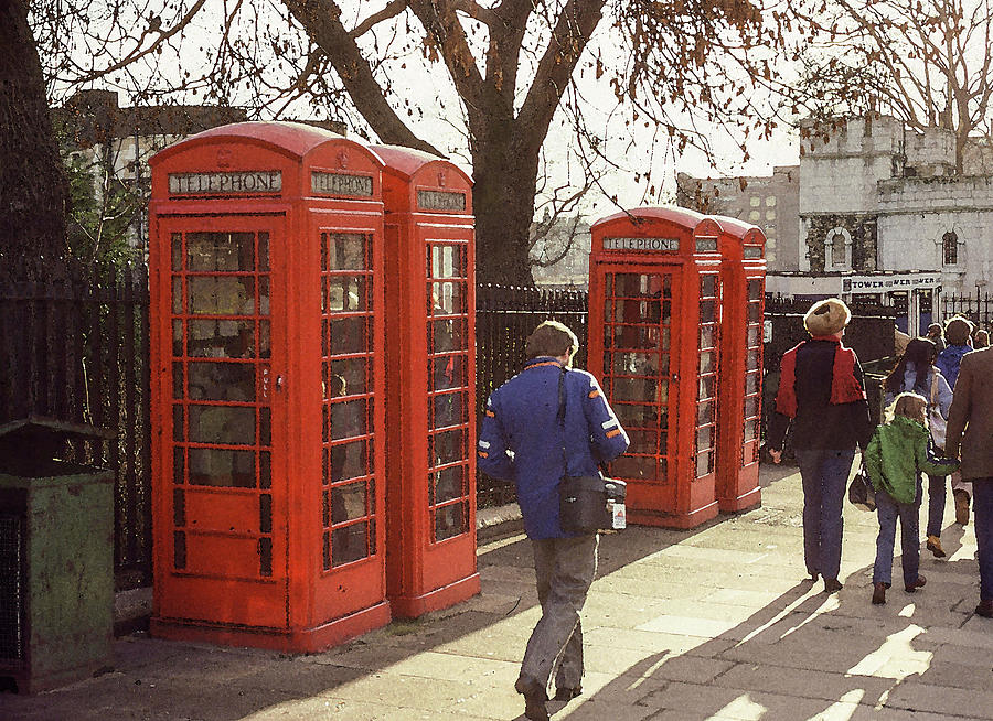 Phone Booth Photograph - London Call Boxes by Jim Mathis