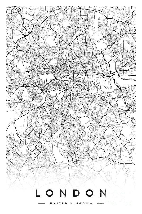 London City Map Digital Art By Scandinavian Walls