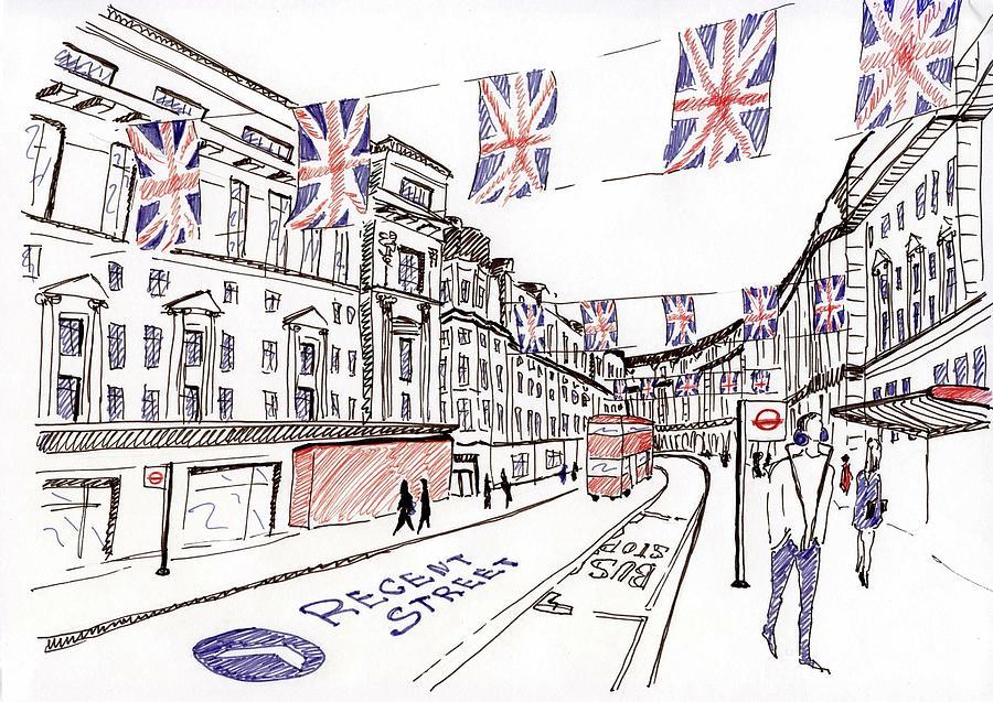 london city sketch drawing by anna potanina