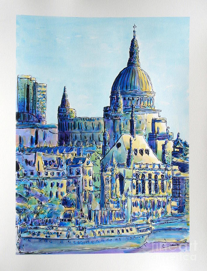 London Painting - London City St Pauls Cathedral by Gracio Freitas
