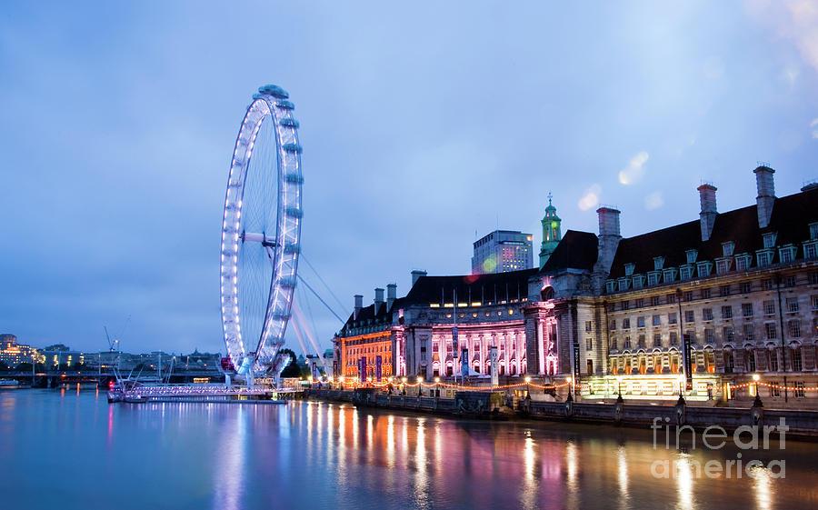 Big Ben Photograph - London Eye At Night by Donald Davis