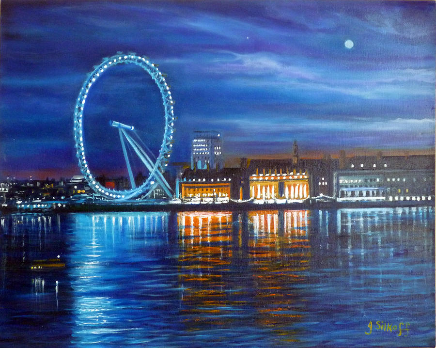 London Painting - London Eye by Janet Silkoff