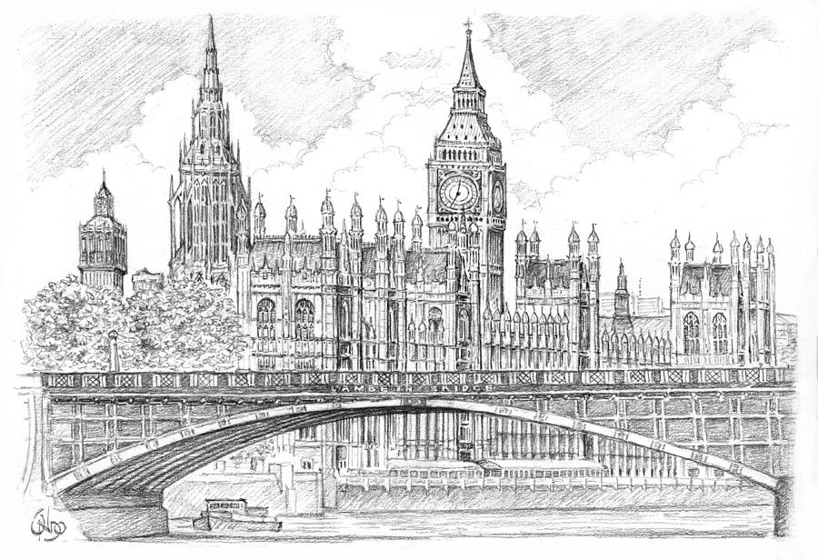 London S Buildings Line Drawings