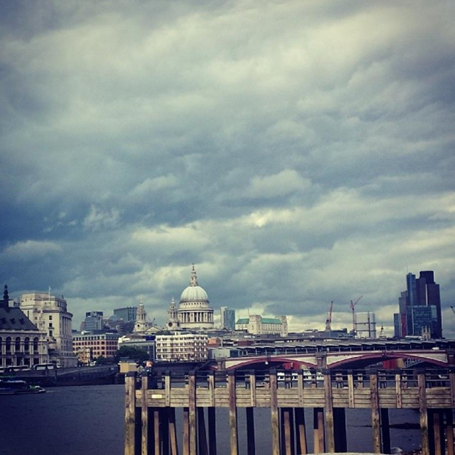 London Photograph - London I Love You.  #skyline #sky by Julie Featherstone