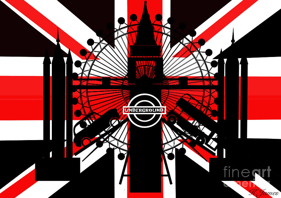 London Icons Black Red White Digital Art By Katrina James