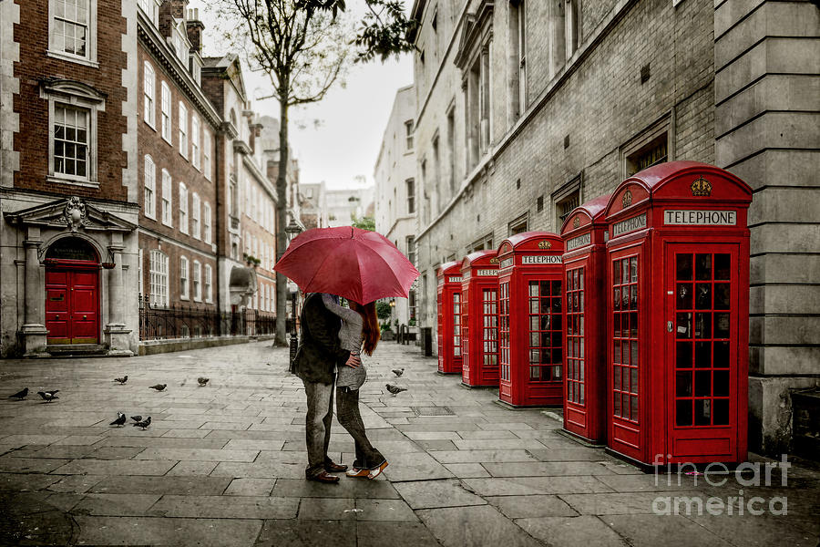 Red Umbrella Photograph - London Love by Stacey Granger