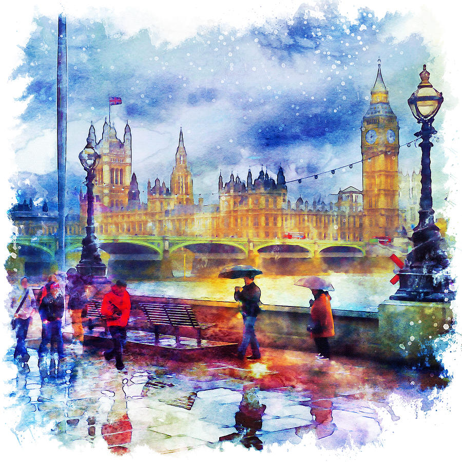 london rain watercolor painting by marian voicu