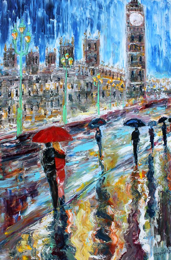Parliament Painting - London Rainy Evening by Karen Tarlton