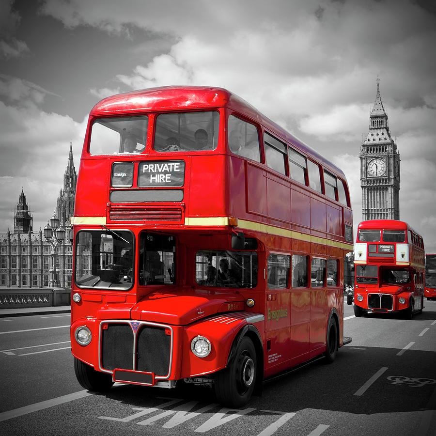 British Photograph - London Red Buses On Westminster Bridge by Melanie Viola