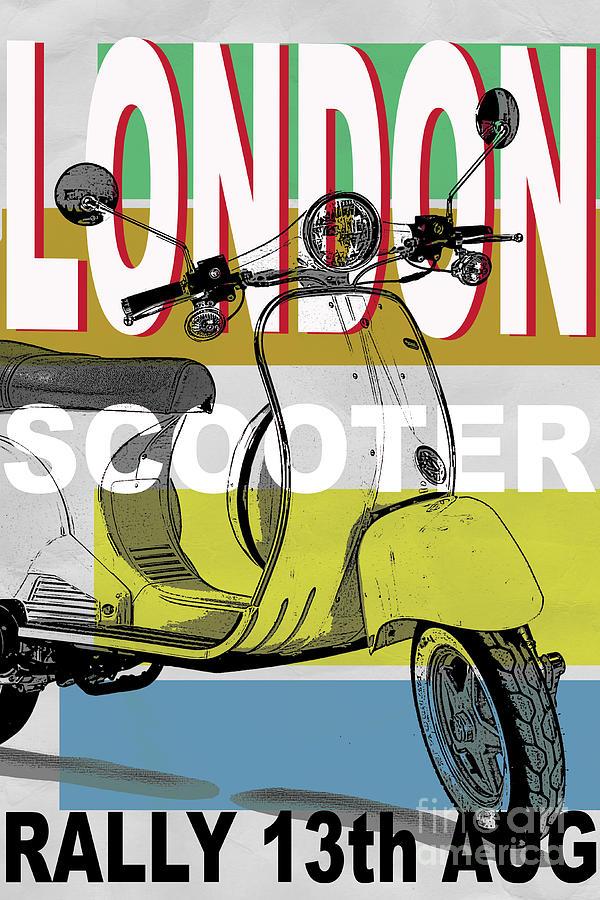 Scooter Digital Art - London Scooter Rally by Edward Fielding