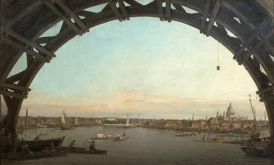 London Painting - London seen through an arch of Westminster Bridge by Canaletto