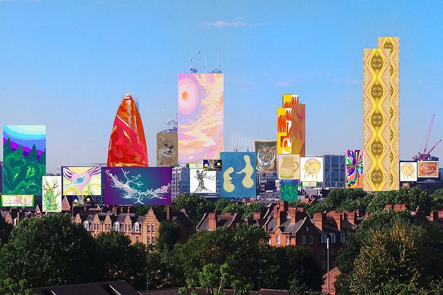 London Digital Art - London Skyline Collage 1 by Julia Woodman