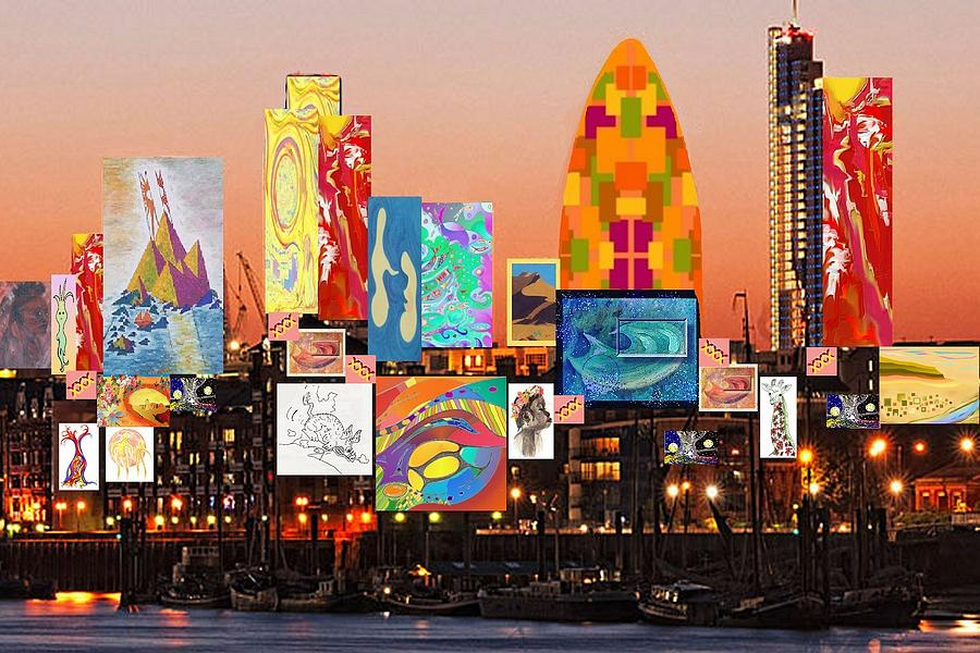 London Digital Art - London Skyline Collage 2 by Julia Woodman