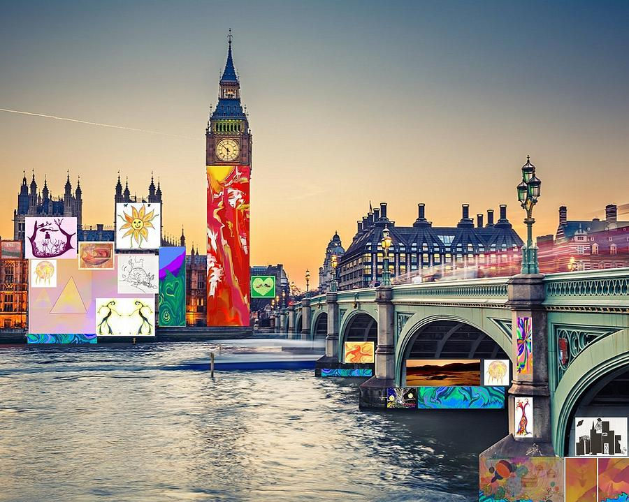 London Digital Art - London Skyline Collage 3 Inc Big Ben, Westminster  by Julia Woodman
