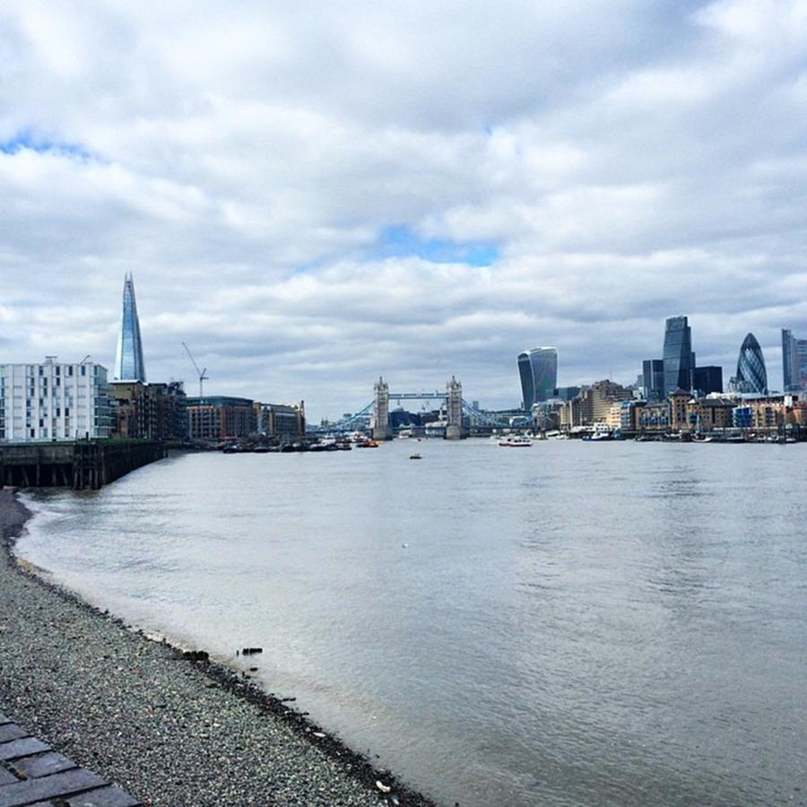 London Photograph - London Skyline From The Thames Path by Eirlys Evans