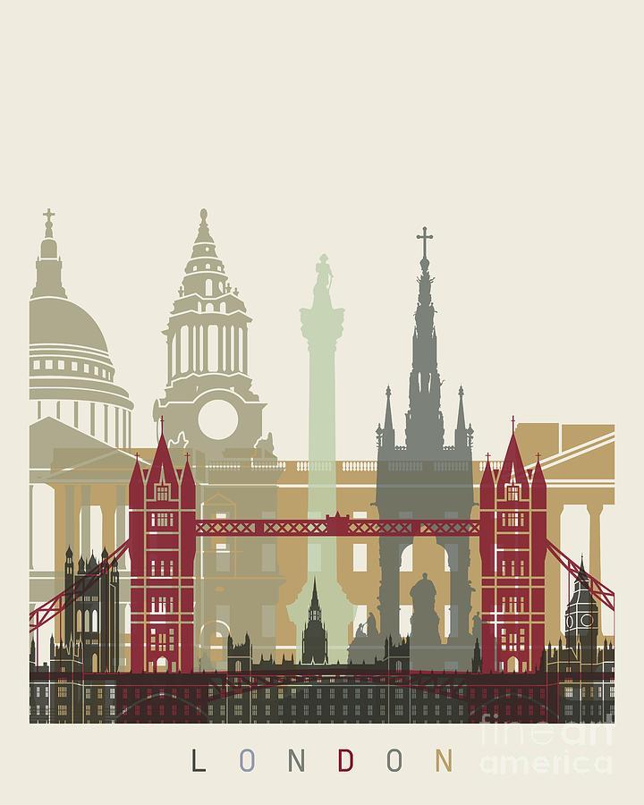London Skyline Poster Painting by Pablo Romero