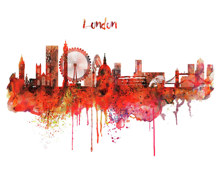 london skyline watercolor painting by marian voicu
