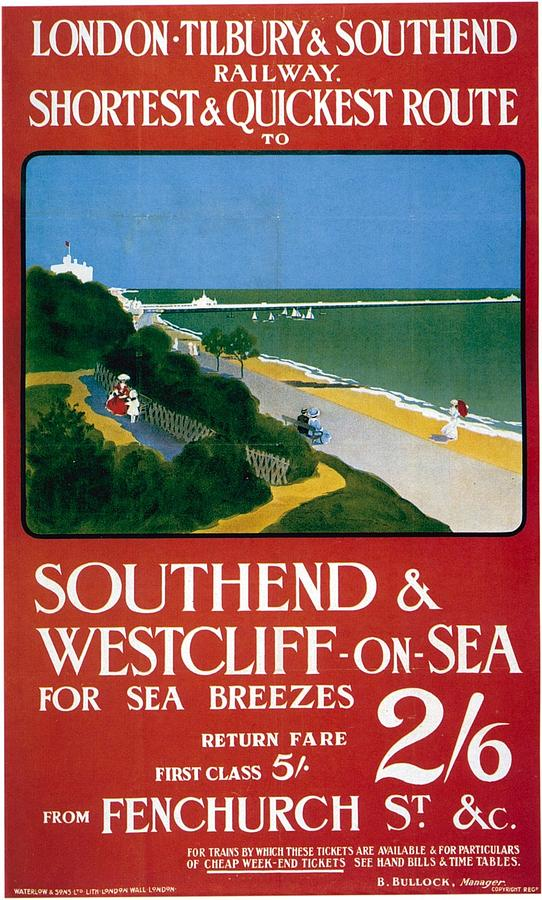 London-tilbury And Southend Railway - Southend And Westcliff On Sea - Retro Travel Poster Mixed Media