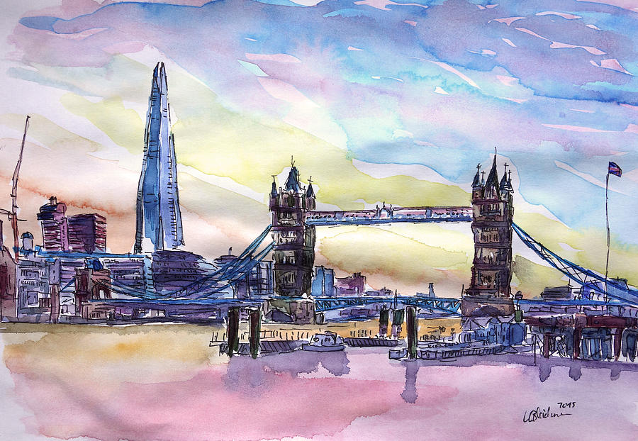 london tower bridge with the shard watercolor art painting by m