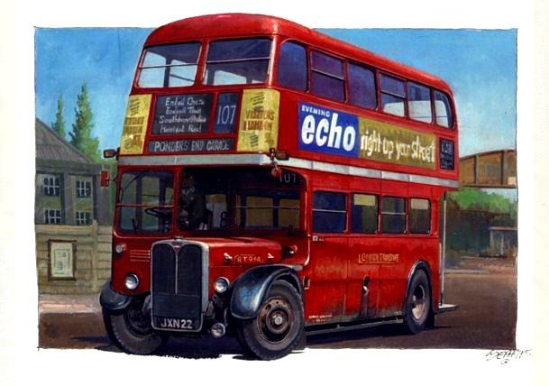 London Painting - London Transport Rt by Mike Jeffries
