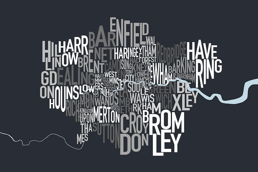 London Digital Art - London UK Text Map by Michael Tompsett