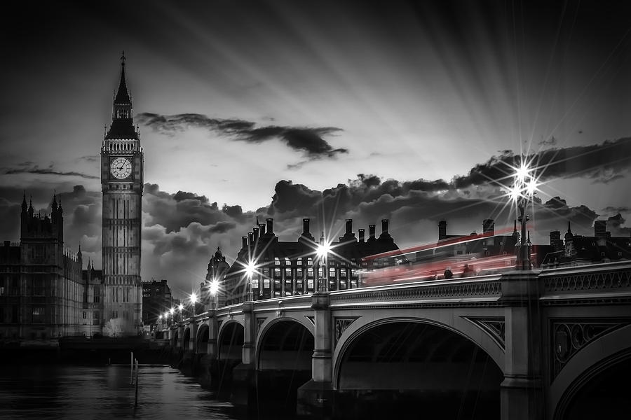 British Photograph - London Westminster Bridge At Sunset by Melanie Viola