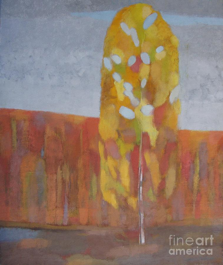 Red Painting - Lone Birch Tree by Ludmila Kalinina