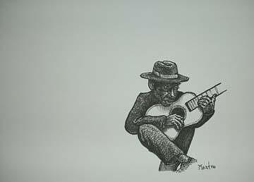 Lone Blues Man 5x7inch Drawing by Meat-Jeffery Paul Gadbois