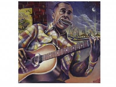 Blues Music Painting - Lone Cat by Brett Caplinger