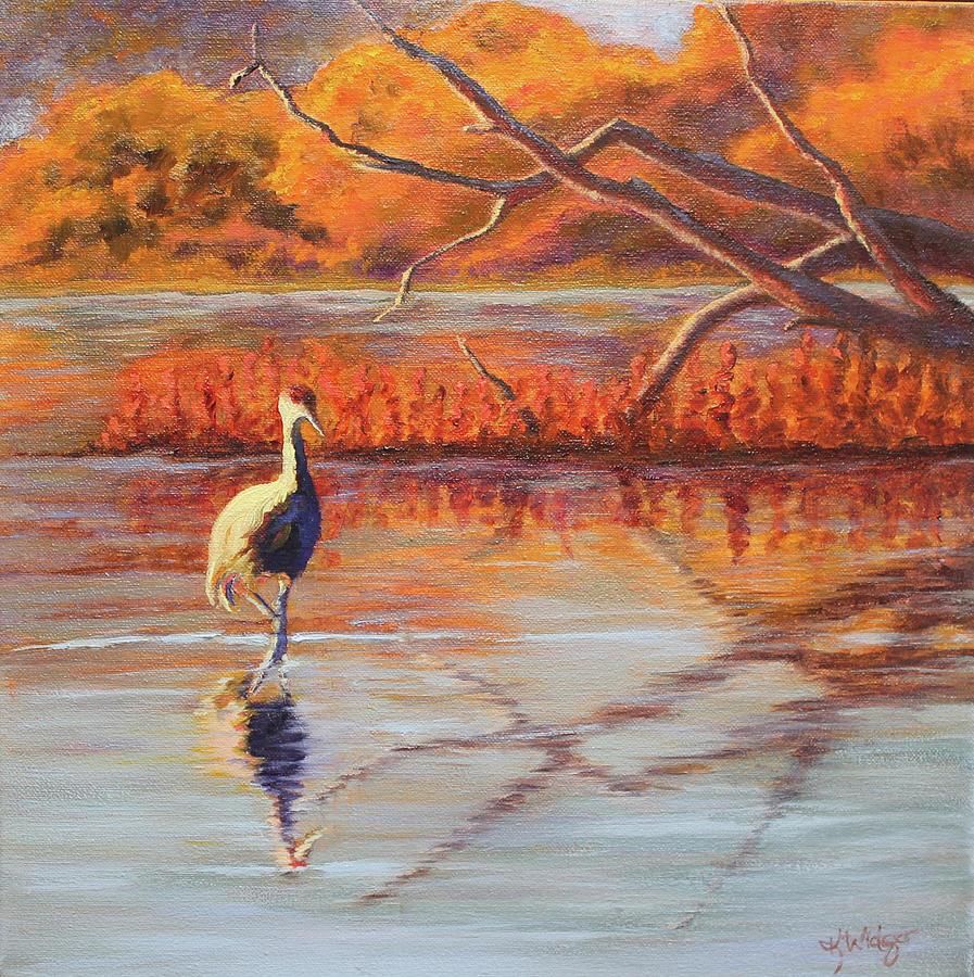 Sandhill Crane Painting - Lone Crane Still Water by Katy Widger