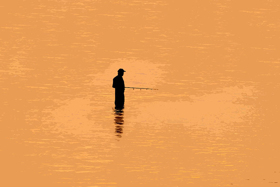 Fishing Painting - Lone Fisherman by David Lee Thompson