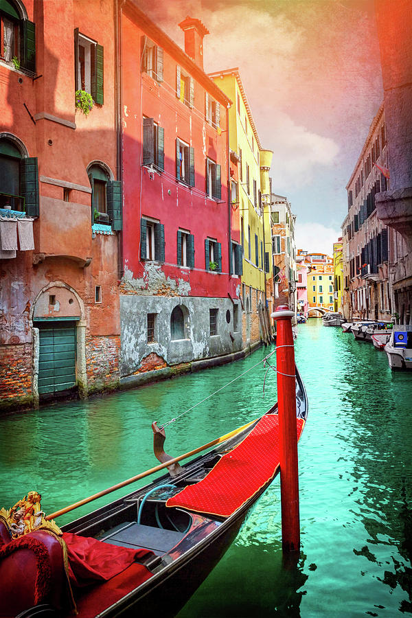 Venice Photograph - Lone Gondola In Venice Italy  by Carol Japp