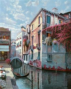 Venice Painting - Lone Gondola by Suleyman Mavruk