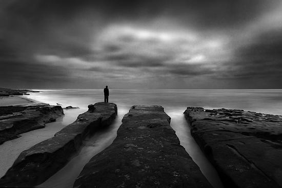 B&w Photograph - Lone Man No 20 by Cole Thompson