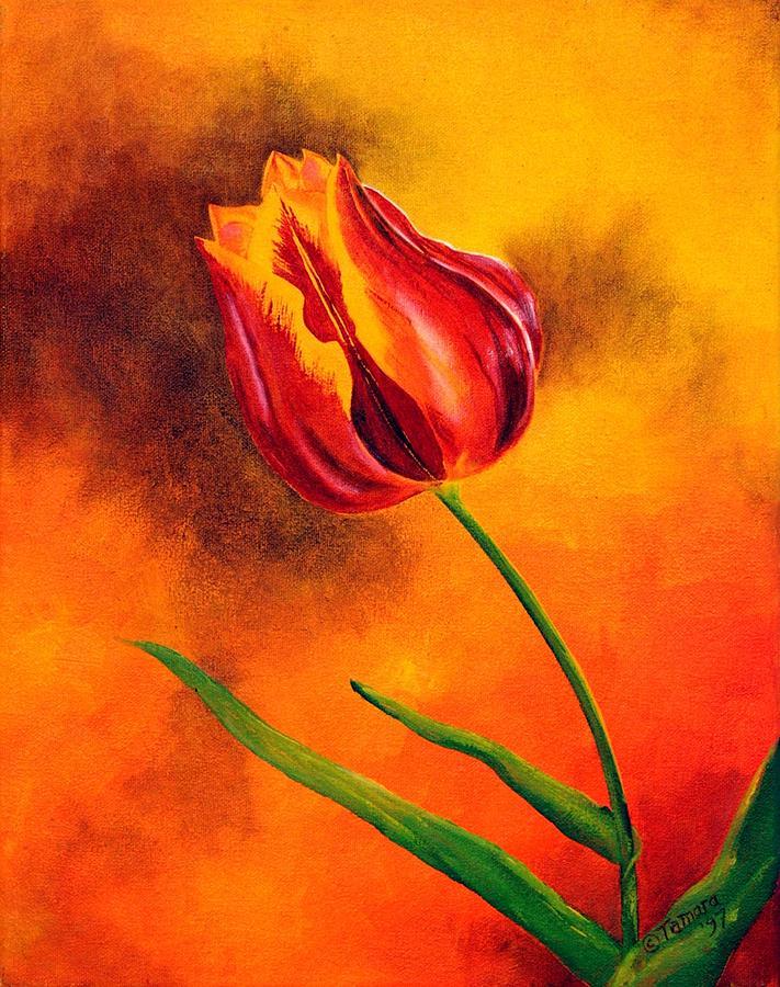 Tulip Painting - Lone Red Tulip by Tamara Kulish