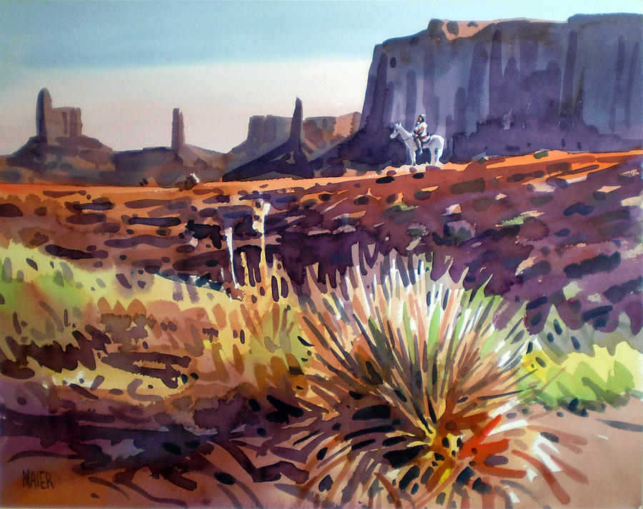 Monument Valley Painting - Lone Rider by Donald Maier
