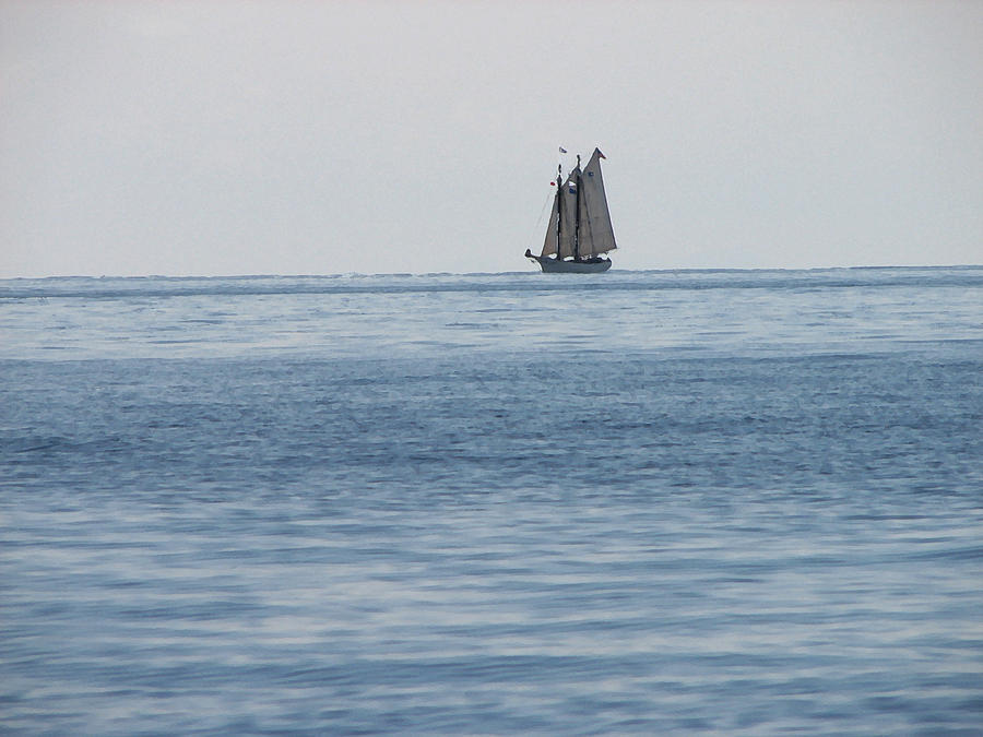 Caribbean Digital Art - Lone Ship At Sea by Ginger Howland