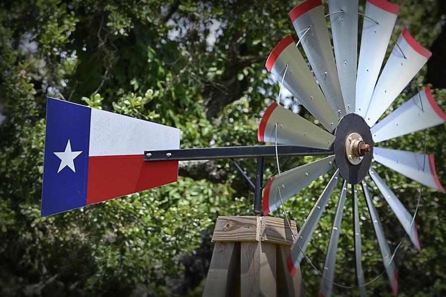 Texas Photograph - Lone Star Windmill by Nadalyn Larsen