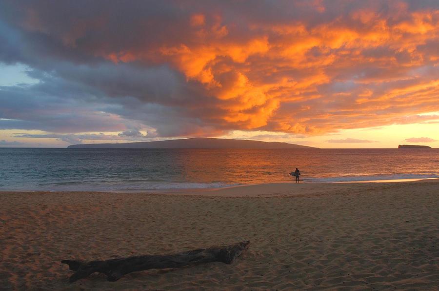 Hawaiian Sunset Photograph - Lone Surfer At Sunset by Stephen  Vecchiotti