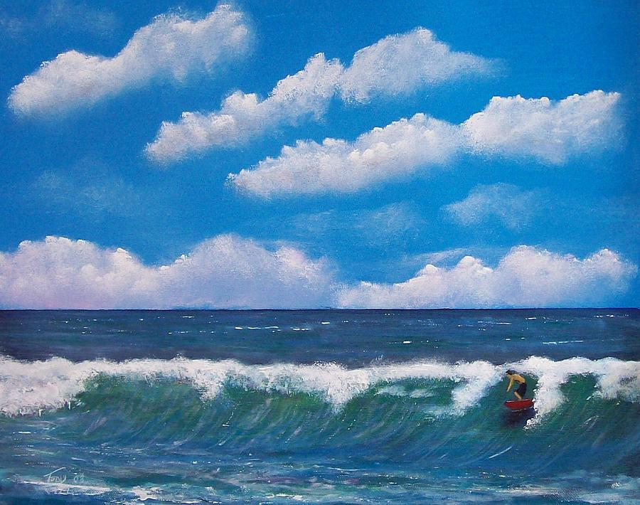 Seascape Painting - Lone Surfer by Tony Rodriguez