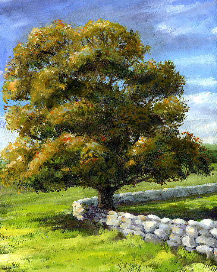 Lone Tree and Wall by Laurie McGinley