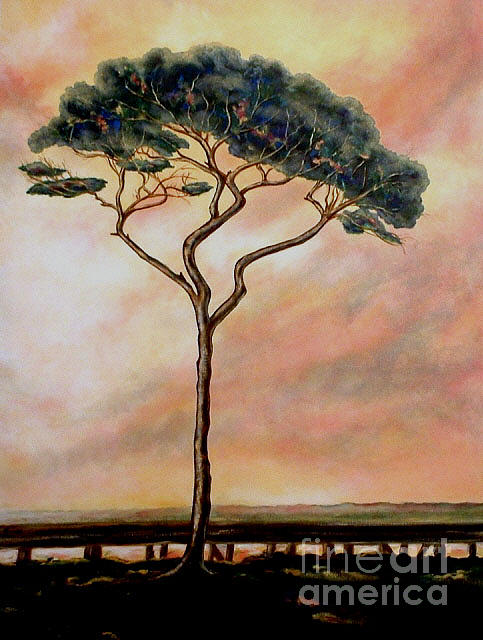 Tree Painting - Lone Tree Bright Sky by Jo Thompson Pennypacker