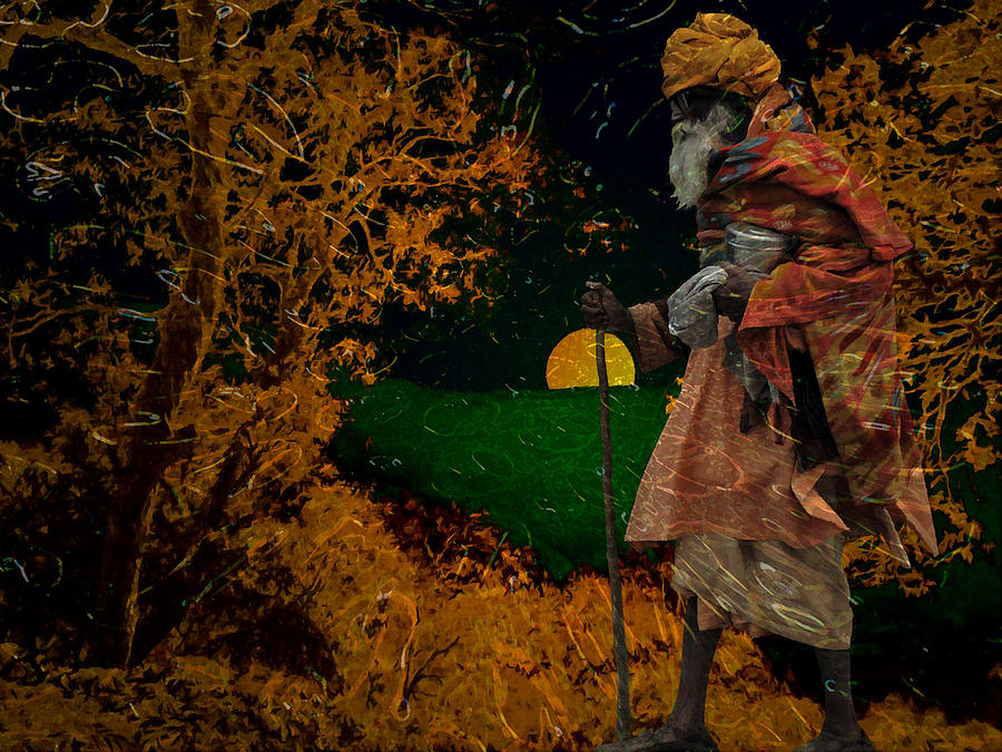 Man Digital Art - Lone Walk Of Life by Bliss Of Art