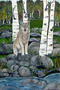 Wolf Painting - Lone Wolf by Carol Kullberg