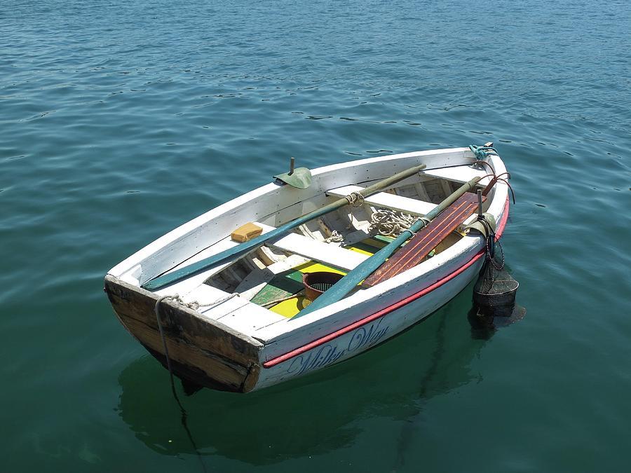 Loneliness Photograph - Loneliness Single Boat by Olga Kurygina