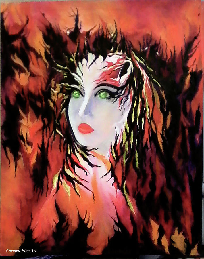 Female Portrait Painting - The Lonely Angel of God by Carmen Fine Art