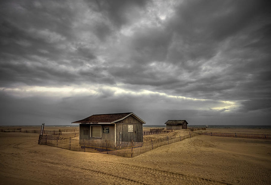 Beach Photograph - Lonely Beach Shacks by Evelina Kremsdorf