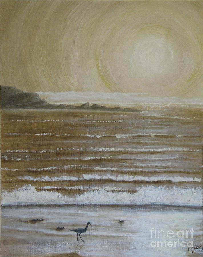 Beach Painting - Lonely Beach Sunrise by Dana Carroll